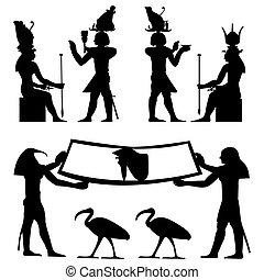 Ägyptische Hieroglyphen und Fresken