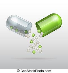 Öffne medizinische grüne Kapsel