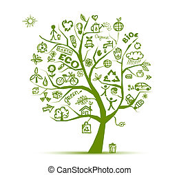 ökologie, baum, begriff, grün, design, dein