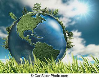 Ökologische Hintergründe mit Erdkugel und grünem Gras.