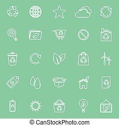 Ökologische Symbole auf grünem Hintergrund.