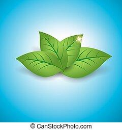 Ökologisches Konzept Icon mit glänzenden grünen Blättern.