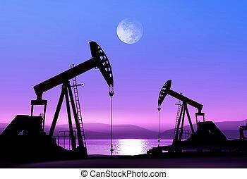 Ölpumpen in der Nacht