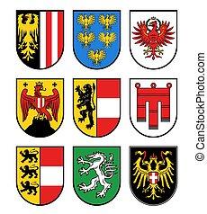 österreicher , gebiete, staaten, mantel, arme, wappen