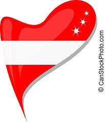 Österreichische Flaggen-Knopf-Herzform