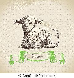 Östlicher Hintergrund mit Lamm. Hand gemalte Illustration