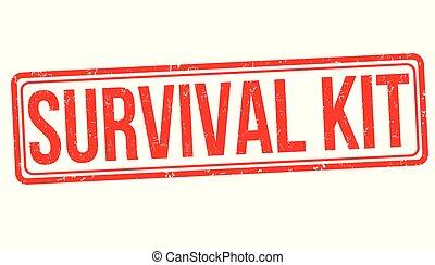 überleben, briefmarke, satz, grunge, gummi