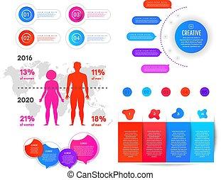überschuss, element, fettleibigkeit, welt, infographic, informationen, weight., infographics, wohnung, landkarte, mann, graphics., frau, steigung