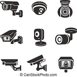 überwachung, videokameras, satz, ikone, pictograms, grafik, sicherheit