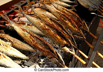 Gegrillter Fisch Steckerlfisch Auf Dem Munchner Oktoberfest Canstock