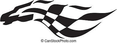 -, fahne, checkered, rennsport, symbol