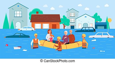 -, flut, katastrophe, familie, mannschaft, erleichterung, gespeichert, karikatur, boot, banner, natürlich, rettung