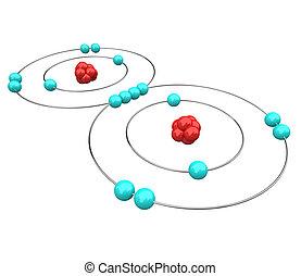 -, sauerstoff, atomar, diagramm