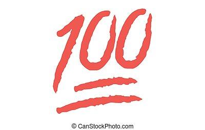 -, symbol, vektor, punkte, vektor, hundert, hundert, punkte, 100, emoji