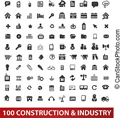100 Architektur, Konstruktions- und Industrie-Ikonen, Vektor