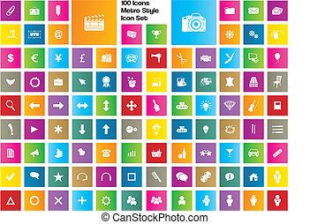 100 Icons - Metro-Stil Icon Set.