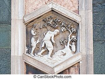 1334-36., campanile, italien, giotto, florenz, fiore, del, heilige, herbst, arbeitende , di, andrea, santa, cattedrale, pisano, maria, flower), nach, adam, vorabend, (cathedral, erleichterung, mary