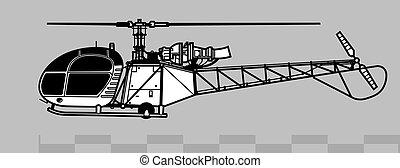 2, grobdarstellung, 313, alouette, vektor, 318., sa, aerospatiale, zeichnung