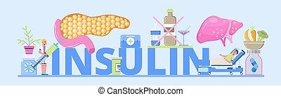 2, kopfsprung, insulin, begriff, mellitus, art, vector., zuckerkrankheit