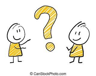 2 Stock Mann stehen und denken Ausdruck Illustration gelb Fragezeichen.
