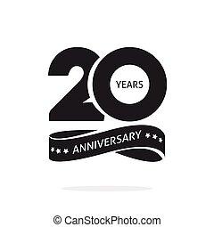 20., symbol, jahr, geburstag, 20, schablone, logo, geschenkband, briefmarke, siegel, schwarz, weißes, zwanzig, jubiläum, freigestellt, ikone, etikett, jahre