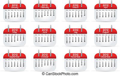 2012, kalender, jährlich, englisches