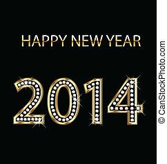 2014, glücklich, gold, neu , vektor, jahr
