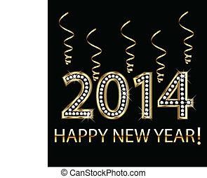 2014, jahr, glücklich, gold, neu