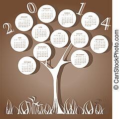 2014, kalender, baum, jahr