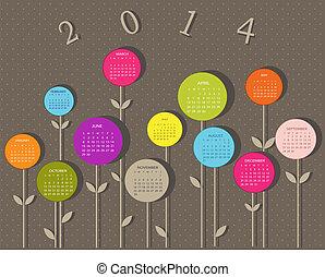 2014, kalender, blumen, jahr
