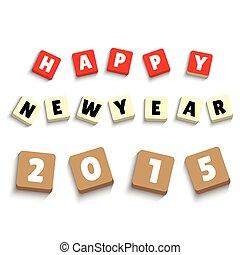 2015, glücklich, neu , ikone, jahr