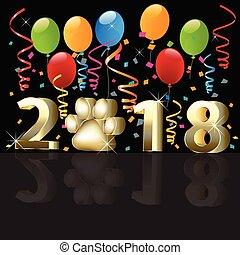 2018 Frohes neues Jahr mit Ballons