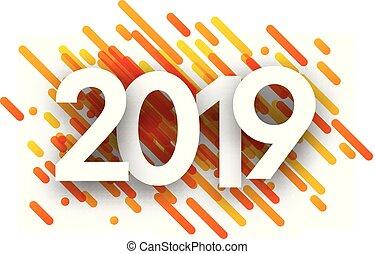2019 neue Jahr Hintergrund mit orangen Strichen.