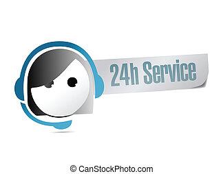 24h Service Kunden Support Illustration.