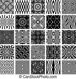 25 schwarze und weiße geometrische Muster.