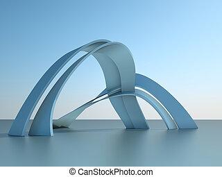 3. Illustration eines modernen Architekturgebäudes mit Bögen im Himmel