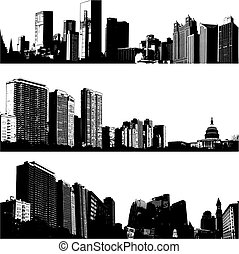 3 Vektor-Stadt-Skylines