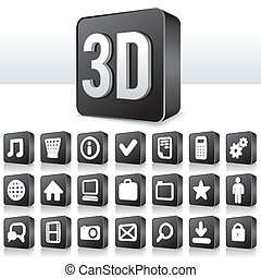 3D-Apps Icon-Technologie Piktogramm auf Quadratknopf
