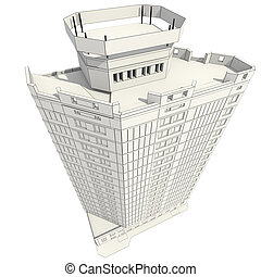 3D Bau des Bürogebäudes.