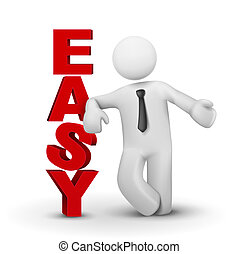 3d Business Man präsentiert Wort einfaches Konzept.