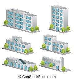 3D Gebäude-Ikonen bereit