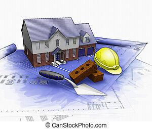 3D-Haus im Bau mit teilweise Wasserfarbeneffekt.