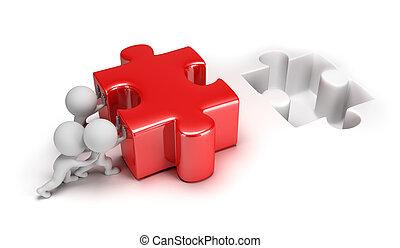 3D kleine Leute, die ein Rätsel lösen