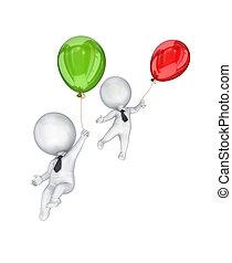3d kleine Leute fliegen mit Luftballons.