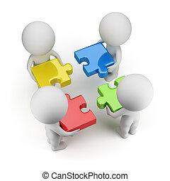 3d kleine Leute - Team mit den Rätseln