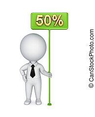 3d kleine Person mit einem grünen Bungner 50 %.