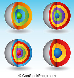 3d, kugelförmig, überlagert, tabellen, kern