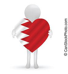 3D Mann mit einer Bahrain Flag.