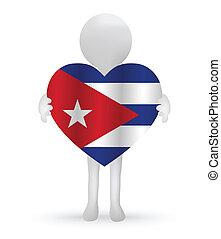 3D Mann mit einer kubanischen Flagge.