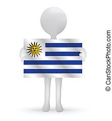 3D Mann mit einer Uruguay-Flagge.